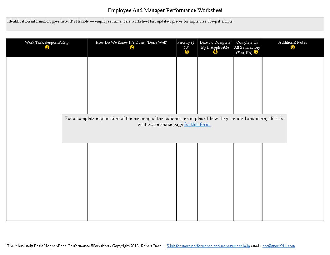 Worksheets Performance Feedback Worksheet view the entire performance management collection httpperformance appraisals orgbacalsappraisalarticlesarticleshooperbacalhooperbacalformbarebones jpg